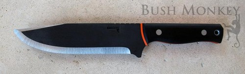 Bowie 12 inch OAL saber bevel orange and black G-10